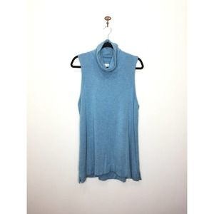 Lou & Grey Blue Sleeveless Turtleneck Sweater L